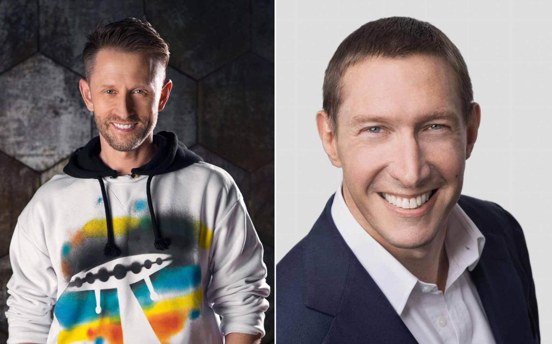 Boshuizen (I) y De Vries (D), los pasajeros siguientes de Blue Origin