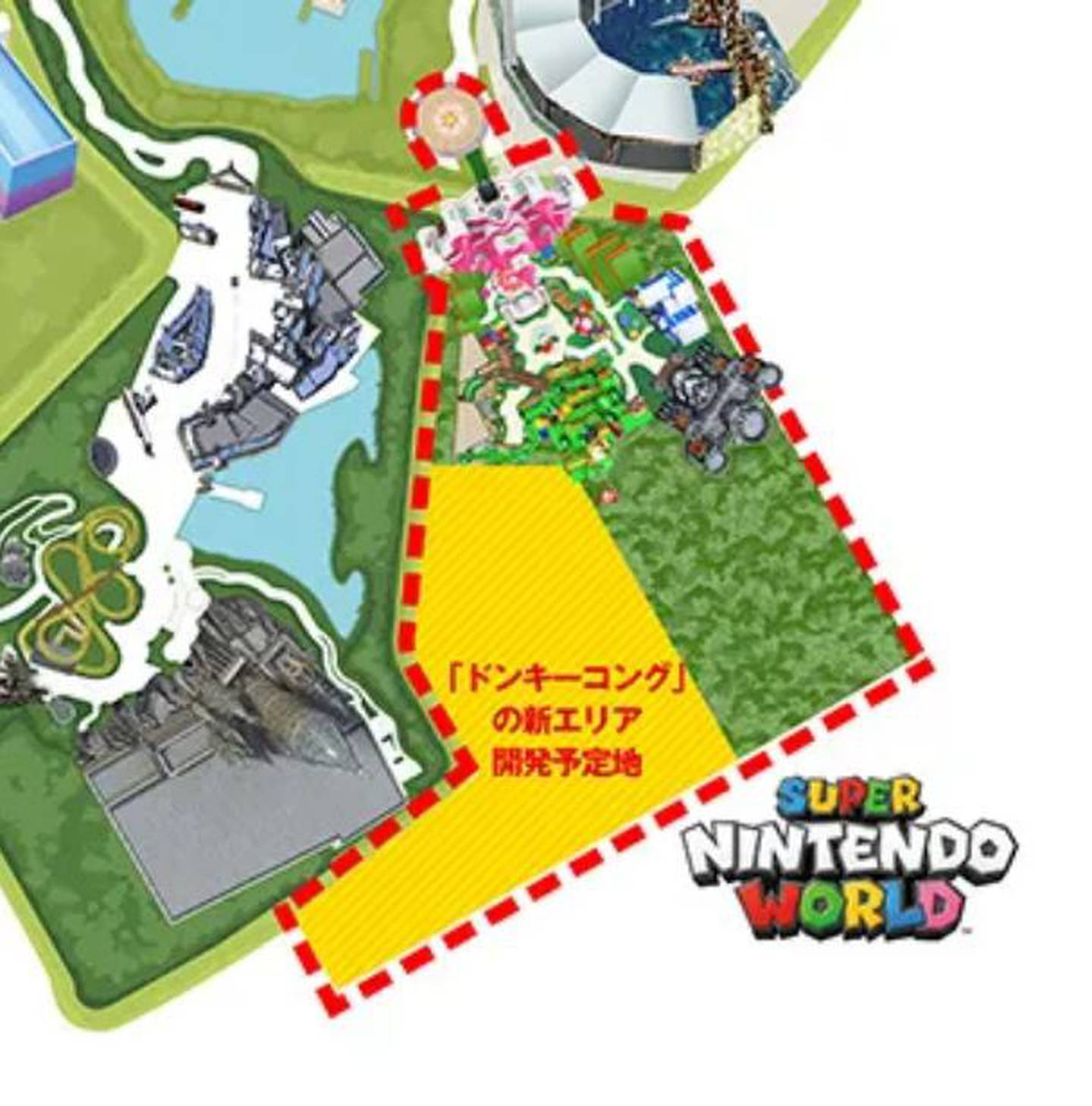 Mapa de Super Nintendo World con la zona marcada para el área temática de Donkey Kong.