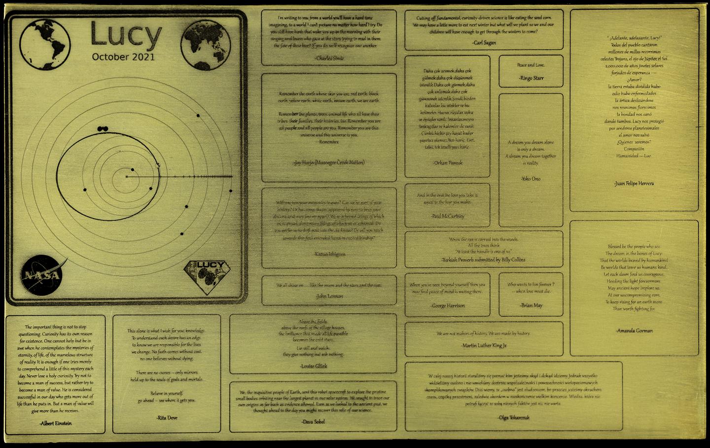 Placa de la misión Lucy